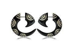 Faux gauge- Horn Gauge- buffalo horn piercing-horn jewelry-Spiral earrings- Tribal jewelry-fake.piercing-Psychedelic. by NELAJAPAN on Etsy