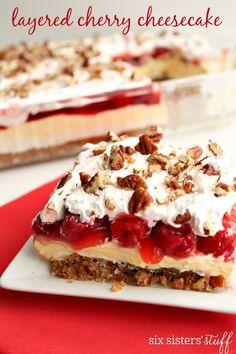 Layered Cherry Cheesecake on SixSistersStuff.com