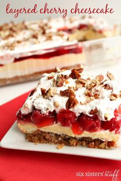 Layered Cherry Cheesecake on SixSistersStuff.com http://www.sixsistersstuff.com/2017/01/layered-cherry-cheesecake.html?utm_source=feedburner&utm_medium=email&utm_campaign=Feed%3A+sixsistersstuff%2FTUsn+%28Six+Sisters%27+Stuff%29