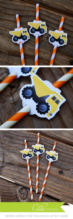 Construction Straw Flags, Construction Straws, Construction Birthday, Construction Party, Dump Truck Straw Flag, Decoration, Tools, Truck by CreativeTouchhh on Etsy https://www.etsy.com/listing/241220676/construction-straw-flags-construction