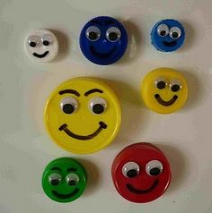 Faces from plastic bottle tops