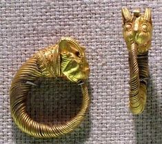 Earring with head of lion-griffin - Period:  Macedonian-Ptolemaic Period; Date: 4th-3rd century B.C.;  Geography: Egypt;  Medium: Gold;  Dimensions: 3 cm (1 3/16 in.) by patrice