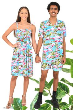 Cutest Couples Set - Blue Flamingo Mens Hawaiian Shirt and Ladies Tube Dress. Go in exact matching clothing to your next party, cruise, luau or festival.  Available individually on our Amazon store. #couplematching #matchymatchy #luauclothing #fancydress #flamingoparty #flamingoshirt #flamingodress #flamingomatching #cruise #cruisewear #festival #festivalclothing #festivalfashion #uniforms