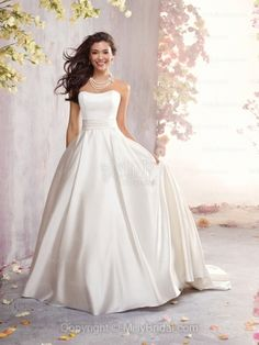 BallGown Sweetheart Satin Court Train Ivory Sashes / Ribbons Wedding Dresses