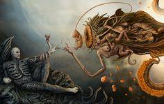 Michelangelo Xenomorph pre-genesis - Prometheus by Jovanovic Dejano Art And Illustration, Arte Horror, Horror Art, Fantasy Kunst, Fantasy Art, Art Alien, Art Noir, Psy Art, Arte Obscura
