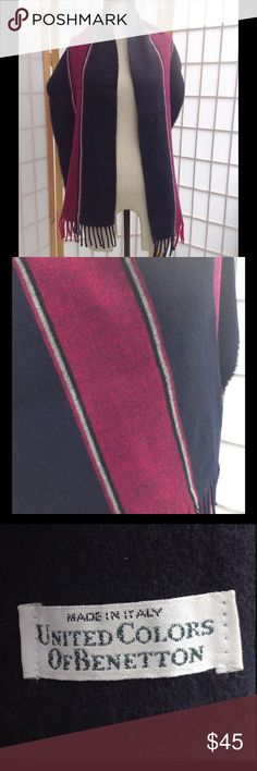 """United Colors of Benetton navy wool striped scarf Vintage United Colors of Benetton navy blue and magenta wool striped scarf.  Made in Italy. Measures approximately 13"""" x 65"""" not including fringe.  100% wool. United Colors Of Benetton Accessories Scarves & Wraps"""