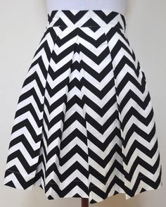 Black and White Chevron Striped Katie Skirt full gathered and pleated skirt very retro and vintage 50's and 60's inspired. $78.00, via Etsy.