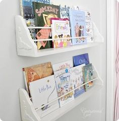 For less than $15 each, using basic wood brackets and dowel rods found at a home improvement store, centsationalgirl.com built these clever bracket bookshelves. Perfect for a child's room. You'll find the instructions here. | thisoldhouse.com