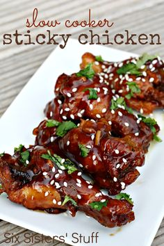 Slow Cooker Sticky Chicken Wings from SixSistersStuff.com. Perfect for an appetizer or party! (Can also substitute drumsticks or chicken breasts)