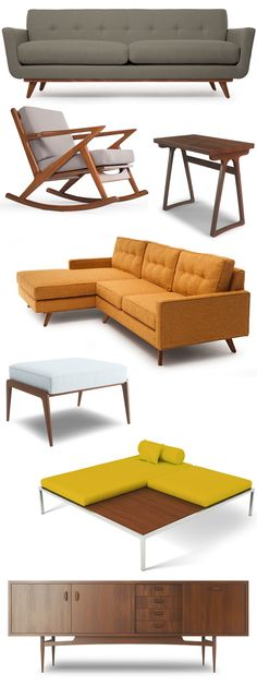 Thrive mid century modern furnishings: I really do appreciate the minimalist design and retro colors. They would go great in a living room that has a tv in the middle of everything. Mid Century Modern Chairs, Mid Century Sofa, Mid Century Decor, Mid Century Style, Mid Century Modern Design, Mid Century Modern Furniture, Mid Century House, Orange Couch, Mcm House