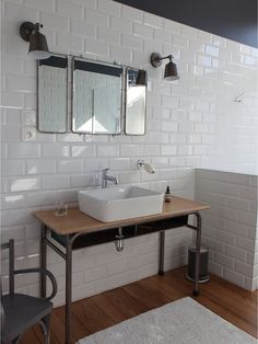 45 Trendy And Chic Industrial Bathroom Vanity Ideas - DigsDigs House, Industrial Bathroom Vanity, Home Remodeling, Bathroom Vanity, Industrial Bathroom, Modern Bathroom, Bathroom, Bathroom Inspiration, Small Bathroom Remodel