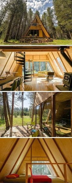 "We love the look of this forest cabin -- reimagined with a sleek style. The bright red paint pops on the A-frame roof. The open floor plan and walls of windows bring the serene surroundings indoors, day and night. ""When you step up on the porch, it's got"