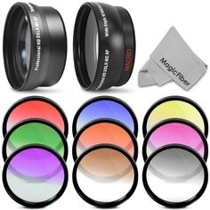 Lens and Filter Kit for NIKON D5100 D5000 D3200 D3100 D3000 - Includes: 52mm 2.0X Telephoto and 0.45X Wide Angle High Definition Lenses + 9 Pcs Gradual Color Filter Kit (Blue, Red, Yellow, Green, Orange, Purple, Grey, Pink and Coffee) + Premium MagicFiber Cleaning Cloth by Goja, http://www.amazon.com/dp/B004MDBK0U/ref=cm_sw_r_pi_dp_55QVqb0A734BQ