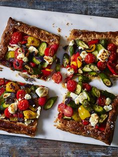 Lighter puff pastry is a great ingredient if you're cutting calories but want a quick dinner. Top with Mediterranean vegetables.
