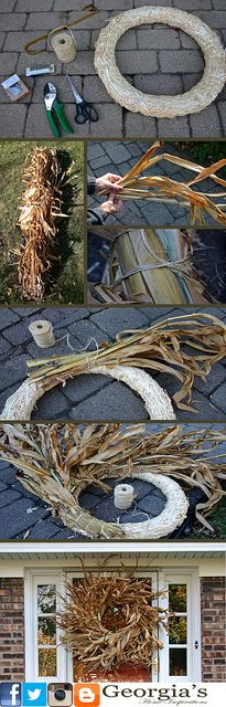 Corn Husk Wreath Collage by Georgia's Home Inspirations http://georgias-home-inspirations.blogspot.com/