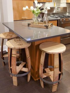 Very unique bar stools from old barrels... Chairs and Ottomans: Vintage Makeovers and Upcycled Seating : Home Improvement : DIY Network