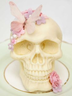 Stunning Floral rose and butterfly CHOCOLATE SKULL wedding cake topper gift