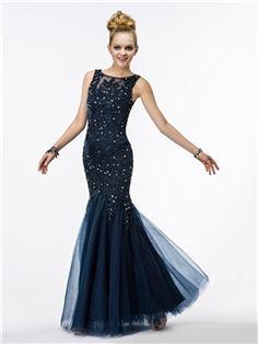 Fantastic Mermaid Straps Appliques Beading Sequins Evening Dress