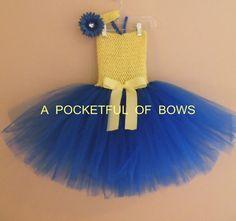 Sale, Despicable Me Birthday Tutu Dress, Yellow and Blue Tutu Dress, Minion Tutu Dress on Etsy, $26.99