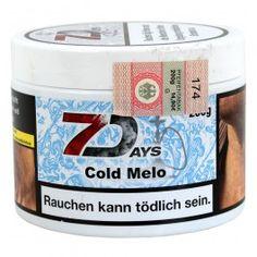 7 Days | Cold MeloShisha Tabak Cold Melo von 7Days, in der beliebten fast luftdichten wieder verschließbaren weißen Plastik Dose, ist uns allen bekannt.Durch seine derbe Rauchentwicklung und seinem abgefahrenem Geschmack zählt er mit zu den beliebtesten Wasserpfeifentabaken am Markt.