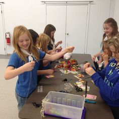 Students having fun making bookmarks. Tetrahedron District, Sunshine Coast, BC, Girl Guide
