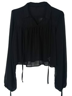 . . Black Sheer Strap Collar Bow Tie Sleeve Blouse . .