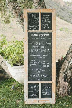 #Menu   #Chalkboard   Onelove Photography   #SMP Weddings: http://www.stylemepretty.com/2013/12/04/travel-themed-wedding-at-saddlerock-ranch-from-onelove-photography/