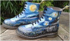 My latest project: Custom painted Dr. martens boots > Eleventh pair. I combined two passions of mine; painting/designing & Dr. Martens shoes ! It's a long process to custom paint leather sho…