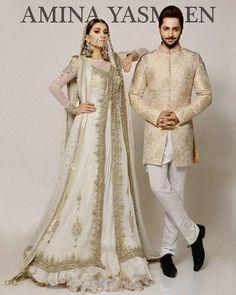 Pakistani couture Ayeza Khan and Danish Taimur for Amina Yasmeen Wedding Dresses Men Indian, Pakistani Wedding Dresses, Pakistani Outfits, Wedding Suits, Indian Outfits, Wedding Wear, Wedding Mehndi, Sherwani Groom, Wedding Sherwani