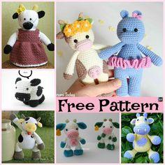 6 Super Cute Crocheted Amigurumi Cow Free Patterns #amigurumi #freecrochetpatterns#cow #gift Pokemon Crochet Pattern, Crochet Cow, Crochet Teddy Bear Pattern, Cow Pattern, Cute Crochet, Crochet Animals, Free Pattern, Crochet Patterns, Kids Crochet