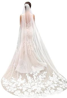 Mgoraya White Ivory Lace Edge Cathedral Length 3m Wedding Bridal Veil with Comb Ivory * Want additional info? Click on the image.-It is an affiliate link to Amazon. #BridalVeils