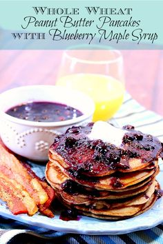 Whole Wheat Peanut Butter Pancakes with Blueberry Maple Syrup is a riff on a PB and J, only in pancake form. - Kudos Kitchen by Renee