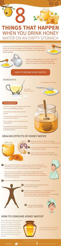 Things that happen when you drink honey water on an empty stomach: #Paleo #Primal #Food #Diet #Health #Fitness #Honey #Infographic