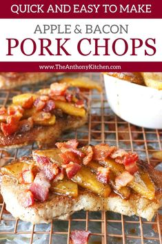 Skillet Pork Chops with Apples and Bacon is a one skillet, fall dinner idea that's quick and easy to make! Featuring pork chops, sweet cinnamon apple slices, and crispy fried bacon! Skillet Pork Chops, Apple Pork Chops, One Pan Dinner, Fall Dinner, Bacon Recipes, Pork Chop Recipes, Quick Easy Meals, Easy Dinner Recipes, Supper Recipes