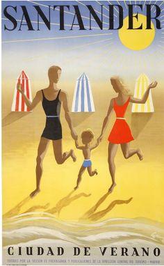 """""""Santander, ciudad de verano"""". Spain Travel Poster."""