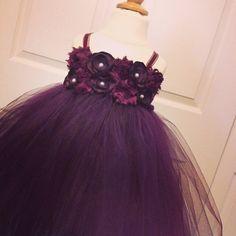 Plum flower girl dress, plum shabby and silk flower wedding dress