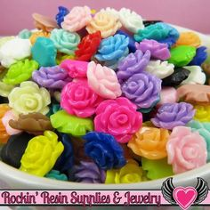 11mm Resin ROSE CABOCHONS Assorted Colors - Rockin Resin - 1
