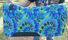 """Western Saddle Pad Contour Blue Tie Dye Wild Side 1"""" Thick 32x32 New Horse Tack 