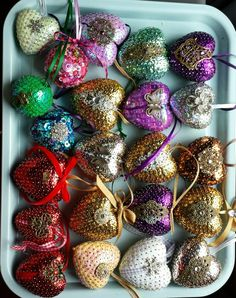 My bling polystyrene and sequin CHristmas baubles