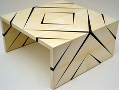 LOVE the geometric detail of this parchment covered table - Reflection Coffee Table by Seamus Fairtlough