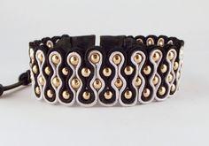 Armbanden - Mooie Soutache cuff armband zwart/grijs/rose goud - Een uniek product van Unycq op DaWanda