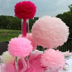 Table Centerpieces - Collection of 6 chiffon Petal Pom fabric balls in shades of pink. $160.00, via Etsy.