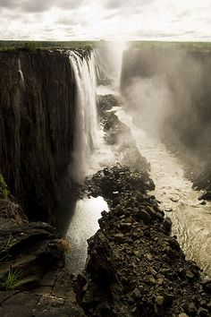 Victoria Falls located in southern Africa on the Zambezi River between the countries of Zambia and Zimbabwe.