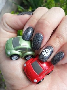 Volkswagen nails - OPI If you've got it haunt it & China Glaze fairy dust