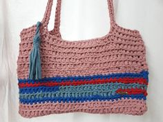 Crochet Handbags, Crochet Bags, Crochet Shoulder Bags, Light Blue Color, Unique Bags, Day Bag, T Shirt Yarn, Bag Making, Gifts For Women