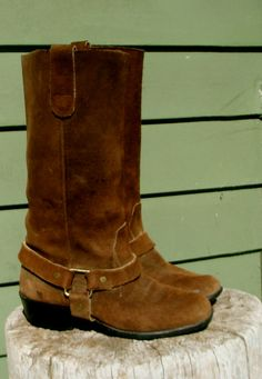 Vintage 1980s brown Suede Harness Boots by DrowningFlame on Etsy, $75.00. So Super Cute. They go with everything.