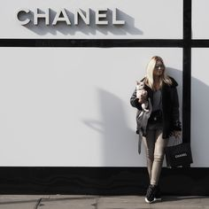Miss Guided faux leather trousers, ASOS basic grey tee, ACNE coat, Chanel sneakers, a velvet Chanel bag and Finest Seven Aviators (Featuring Tallulah)