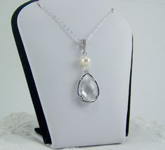 Pearl and Crystal Drop Necklace Framed by CreatedinTheWoods, $24.95