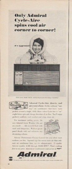 """1965 ADMIRAL AIR CONDITIONER vintage magazine advertisement """"Only Admiral"""" ~ Only Admiral Cycle-Aire spins cool air corner to corner! It's Cool-ossal! Shown above, Model 1705C23 ~"""