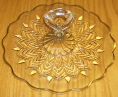 Peacock Feather Crystal Clear Depression Glass Serving Tray With Gold Overlay and Center Handle.  Made by Jeanette Glass Company.
